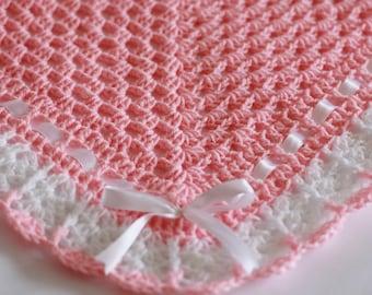 Crochet Baby Blanket / Afghan Pink Whitevwith White Satin Ribbon Christening, Baptism, Baby Granny Square Crochet Blanket, Baby Shower Gift