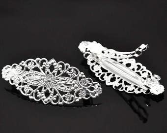 Filigree Floral French Hair Barrette Clips Silver Plated 2 Pieces