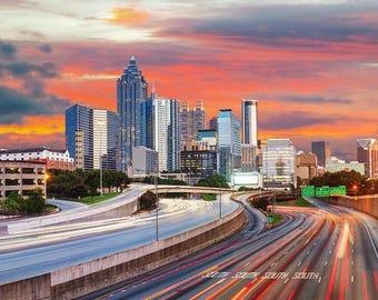 Atlanta Skyline, Atlanta decor, Atlanta skyline, Atlanta Wall Art, Atlanta skyline print ,Atlanta Cityscape,  Atlanta home decor,