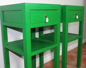 SOLD.... Green Nightstands, Green SideStands, Patio Tables, Green and Gold Side Table