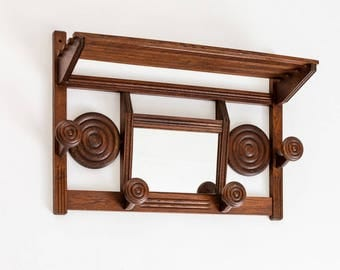 French oak coat/hat rack with mirror 1950's