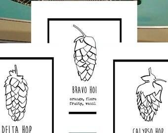 Hop Trio greeting cards for BEER loves, hop snobs, Brew nerds...