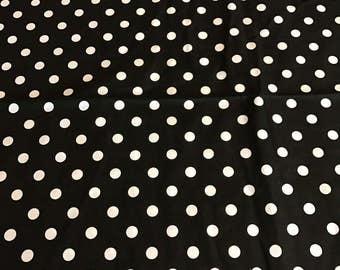 Black and white polka dot cotton fabric