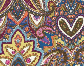 Gypsy Heart Green, Pink & Blue Floral Paisley Indian Summer Collection Cotton Fabric by Michael Miller - FQ