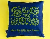 Pillows lime screen print...