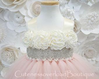 Blush Flower Girl Tutu Dress-Blush Tutu Dress-Blush Girl Tutu-Blush Birthday Tutu-Blush Wedding Tutu-Blush Tutu.