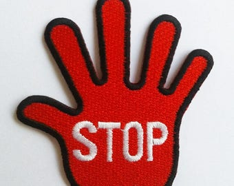 Red hand Stop Sign patch.
