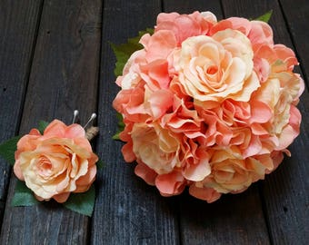 Hydrangea Bouquet, Toss Bouquet, wedding toss bouquet, Small Wedding Bouquet, Wedding Bouquet, pink and orange, coral bouquet, toss bouquet