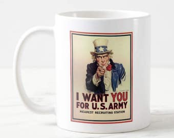 11oz U.S. Army Uncle Sam Recruiting Poster Vintage Mug Unique Coffee Mug, Gift For Him, Gift For Her, Gift Under 20, Mom Gift, Dad Gift