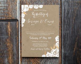 Rustic Botanical Kraft Effect | Rustic Barn Woodland Rose Wedding Invitation Sample | Handmade Luxury Watercolour Paper