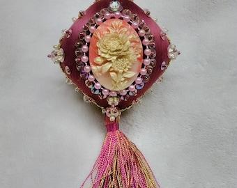 Antique  Flower Garden beaded satin ornament