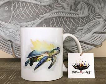 Sea Turtle Ceramic Coffee Mug - Artwork by Julie Gallagher