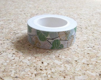 Washi tape green and white leaf design Natural green masking adhesive paper for scrapbooking