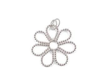 Silver flower pendant handmade by Cobaja