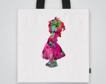Little Girl Tote Bag Shoulder Bag Market Bag Art Print