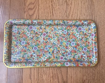 Daher Decorated Ware Tin Floral Tray