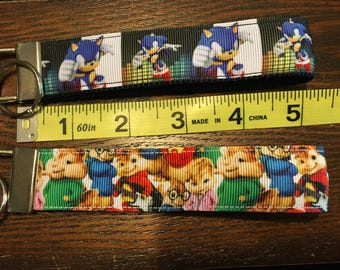 SALE - Sonic the Hedgehog or The Chipmunks Fob/Chain Wristlet