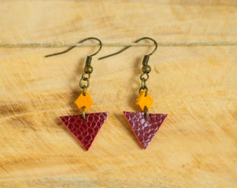 """""""Clem"""" Purple and yellow leather earrings"""
