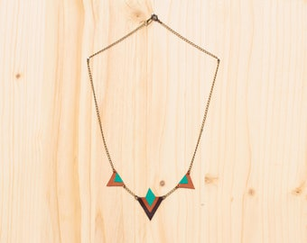 Pao sea green, camel and brown leather necklace