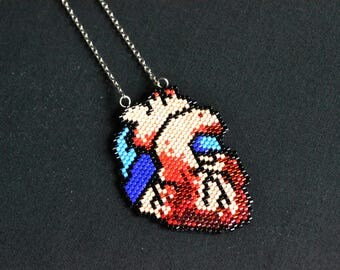 Anatomy heart pendant human heart necklace pixel red colorful Momento mori gothic halloween scary gift for her