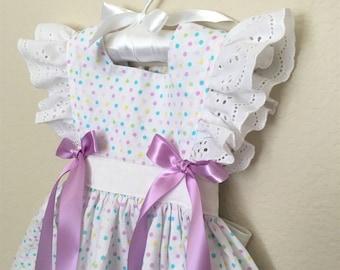 First Easter Summer Cotton Flutter Sleeve Pinafore Dress