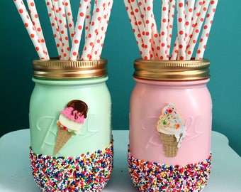 Mint and Pink Ice Cream Party Mason Jars with Sprinkles, Summer Party, Colorful Mason Jars, Summer Decoration, Ice Cream