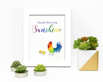 Good Morning Sunshine | Rooster | Watercolour | Digital Download | Print it yourself