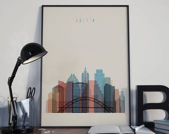 Austin Art Austin Watercolor Austin Multicolor Austin Wall Art Austin Wall Decor Austin Home Decor Austin City Austin Skyline Austin Print