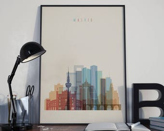 Madrid Art Madrid Watercolor Madrid Multicolor Madrid Wall Art Madrid Wall Decor Madrid Home Decor Madrid City Madrid Skyline Madrid Print