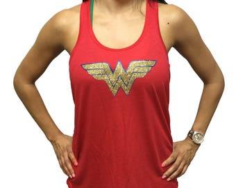 Wonder Woman Glitter FLOWY Womens Yoga Workout Racerback Tank Top