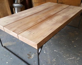 Urban Steel Frame and Oak Coffee Table