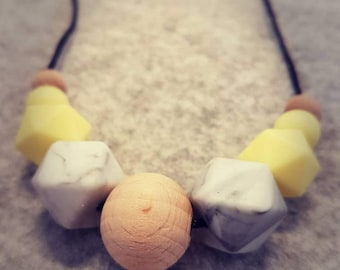 Silicone Necklace: Lemon & Marble