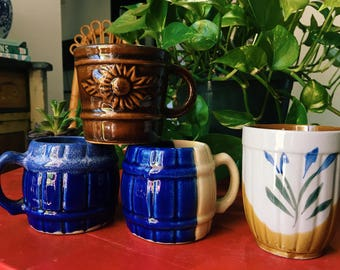Vintage Ceramic Mugs, Set of 4 Bohemian Glazed Coffee Cups