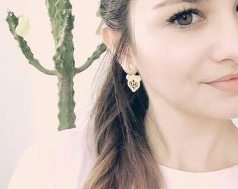 SATANAY earrings/18k gold plated/Anniversary Gift/Ear jacket/Accordion/Birthday Gift/Circassian jewelry/boho