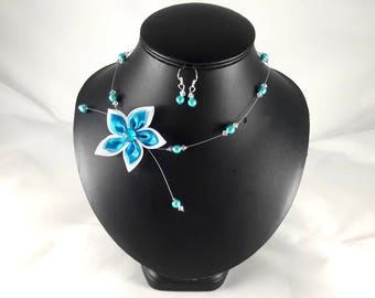 Adornment Loane turquoise and white wedding flower - customizable