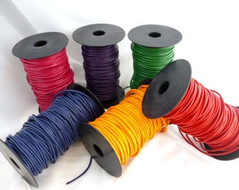3mm Genuine Leather Round Cord /Colored Leather Cord/ of 3 mm ( 0/12 in) pack 5 meters / 16,4 ft