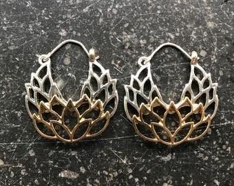 Pretty Tribal Brass Lotus Flower Earrings
