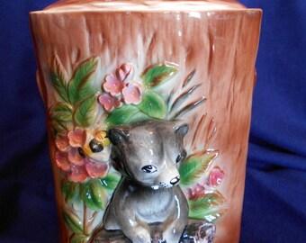 Bear Cub & Bees Cookie Jar.  Olimco Japan