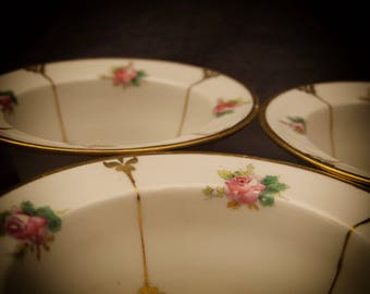 3 Limoges France W M Guerin & Co Ramekins Bowls Dishes