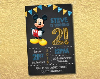Personalised Mickey Mouse Birthday Party Invitation Invites