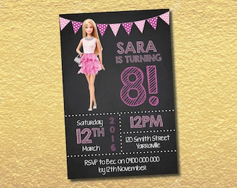 Personalised Barbie Birthday Party Invitations Invites