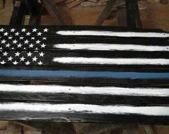 Rustic Thin Blue Line Pallet Wood Flag, Reclaimed Wood