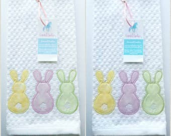 Bunny Kitchen Bath Towel Set, Spring Hand Set, Applique Towel, Gift Towel, Kitchen Decor,  Kitchen Towel, Bath Towels, Embroidered Towels