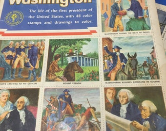 1954 George Washington golden stamp book