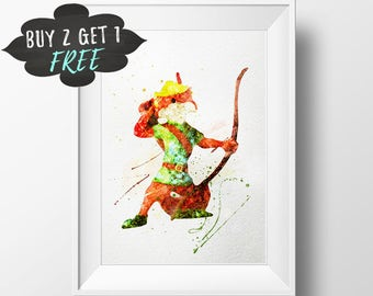 Tribal Nursery Woodland Creatures, Robin Hood Art Print Poster, Wall Art Printable Watercolor Instant Download Playroom Decor Baby Girl Gift