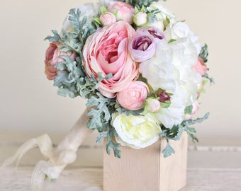Silk Bridal Bouquet Pink Peonies Dusty Miller Garden Rustic Chic Wedding
