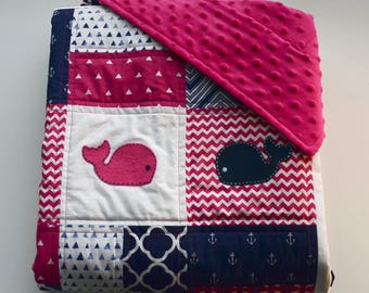 Marine baby quilt with minky backing, and hand sewn whale appliqués - Sea theme - Pink - Navy Blue - White - Modern - Homemade