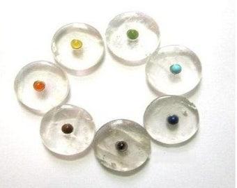 7 Chakras hyaline quartz palmstone