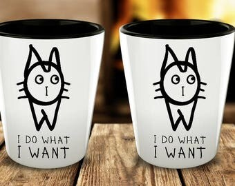 Funny Shot Glasses for Men, I do what I want, Retirement gifts, Funny Shot Glasses, Cat Lovers Gifts, Cancun Shot Glass, Set of 1 or 2 or 4