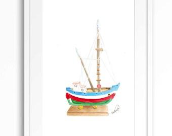 Original watercolor boat painting